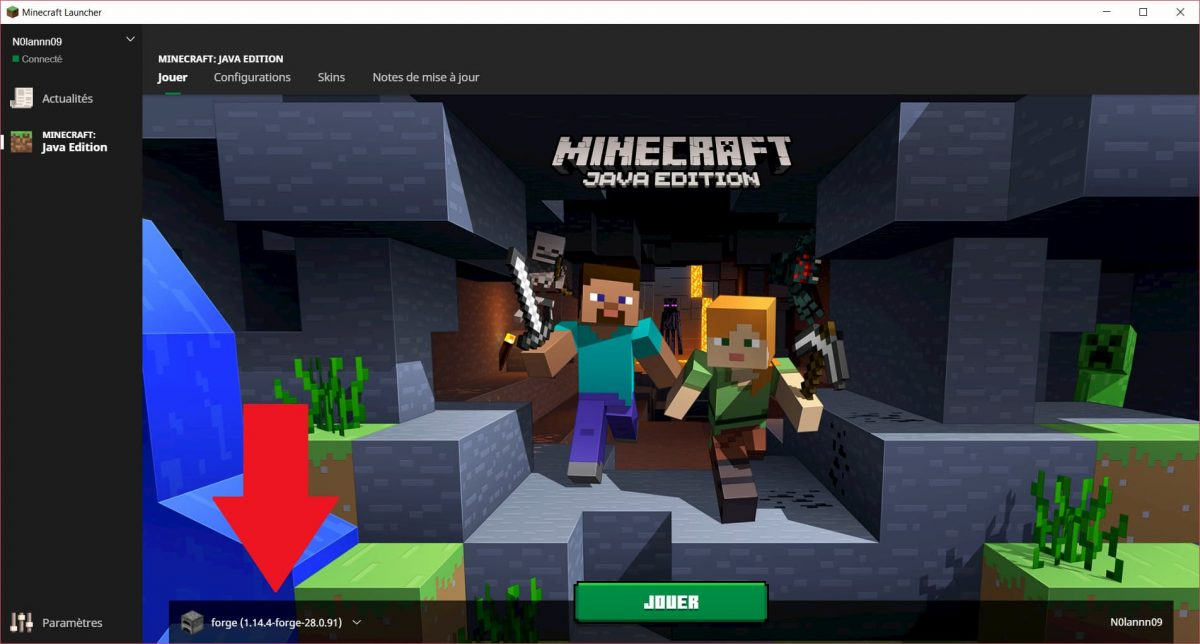 Selection profil forge sur le launcher minecraft