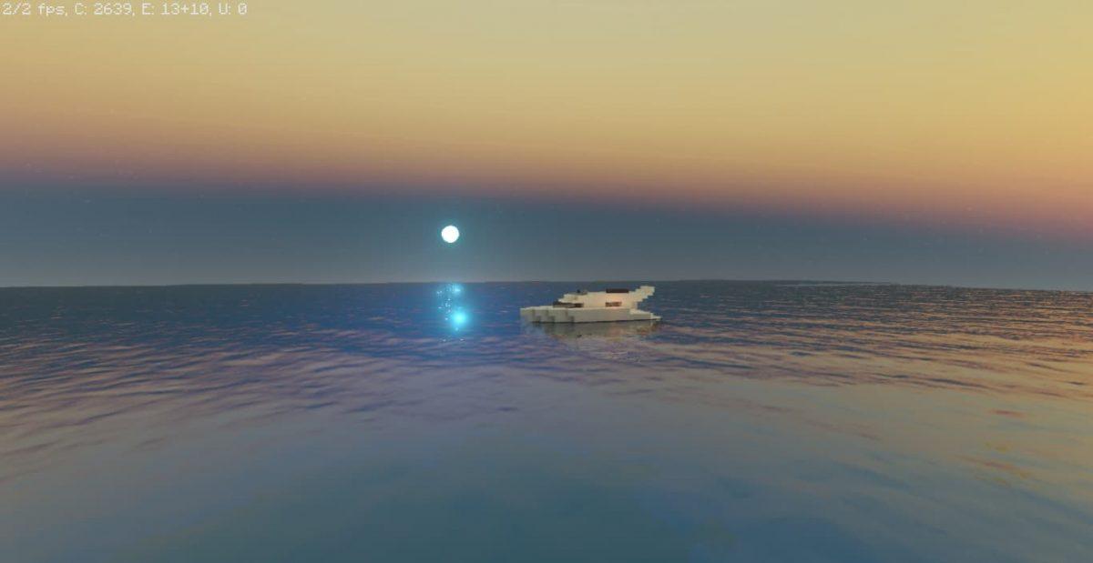 Voyager Shader Minecraft : Un bateau sur l'océan avec la lune en fond