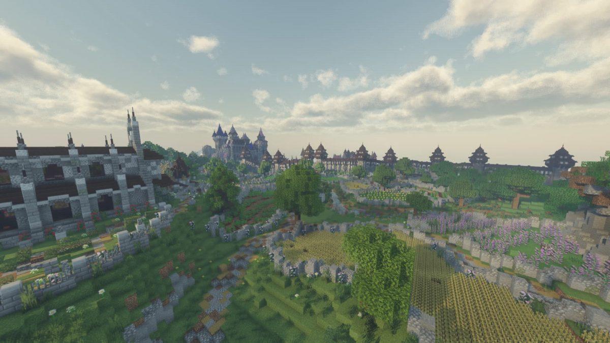 Voyager Shader Minecraft : Château au loin