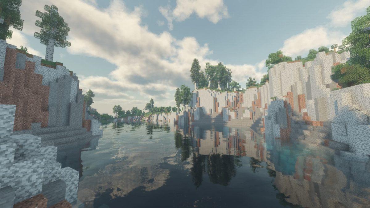 Voyager Shader Minecraft : Reflet d'une colline sur l'eau de la rivière