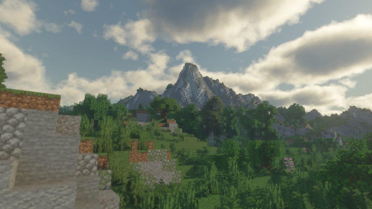 Voyager Shader Minecraft : Une montagne en plein jour