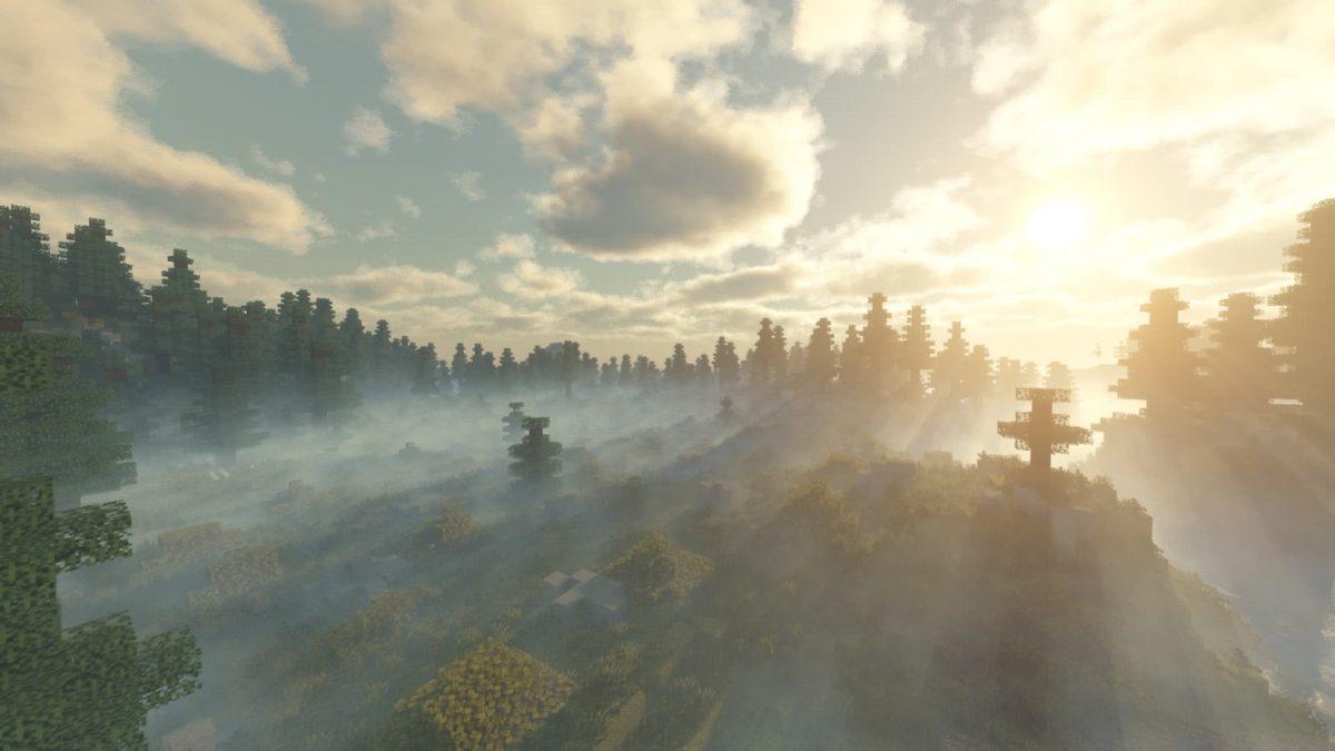 Voyager Shader Minecraft : Levé de soleil sur la forêt