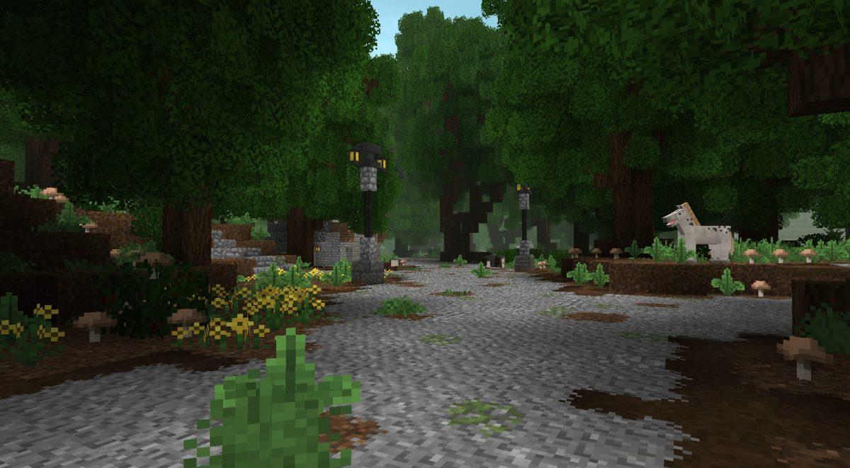 A Little Taste of Jerm : Une forêt avec une chemin pavé