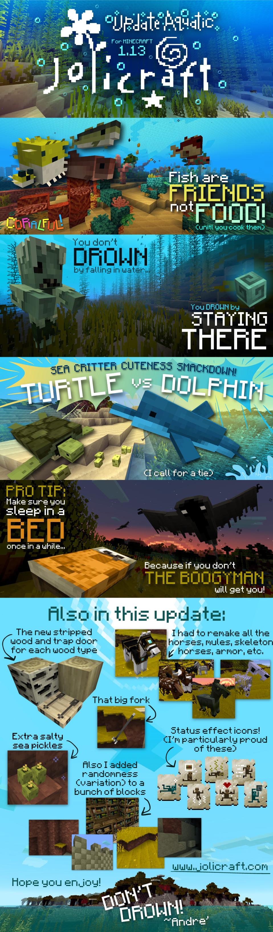 Illustrations jolicraft Minecraft Mise à jour aquatique