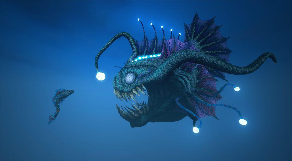 Poisson pécheur map construction Minecraft face à un petit poisson