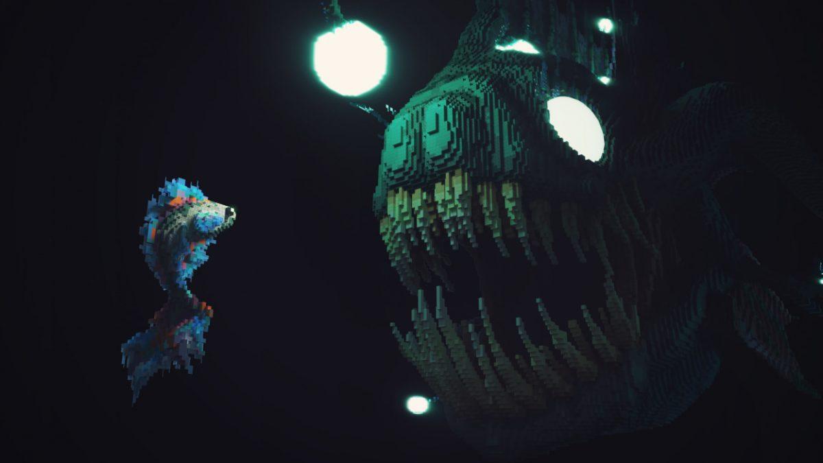 Poisson pécheur map construction Minecraft dans le noir de l'océan