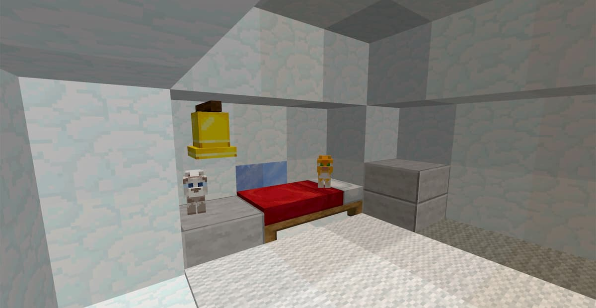 Faithful Minecraft : des chats sur un lit dans un igloo