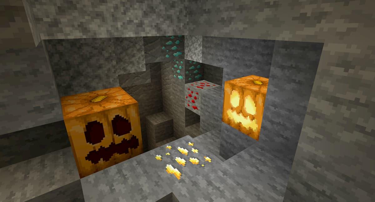 Faithful Minecraft : citrouille et minerai dans une grotte