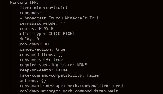 Configuration d'un CommandItem Craftbook