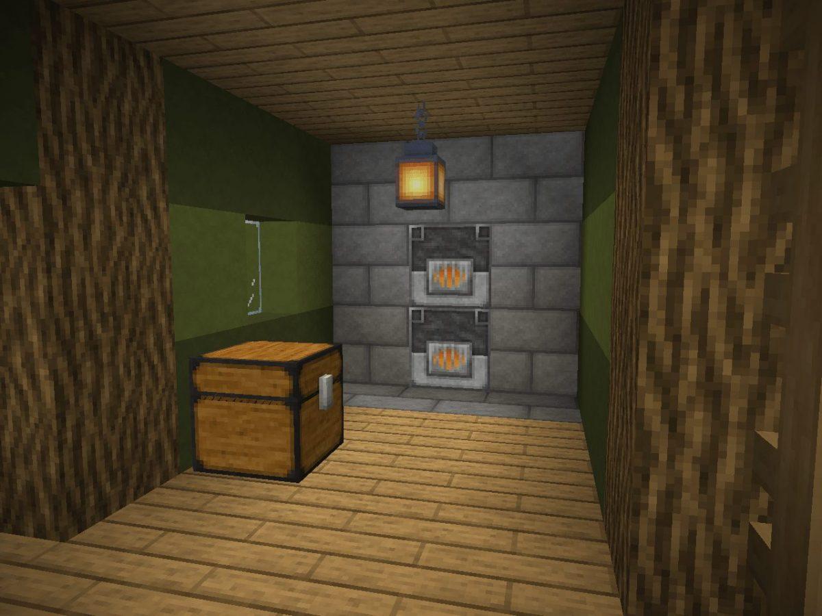 Depixel, pack de textures Minecraft : un coffre et des fours dans une maison