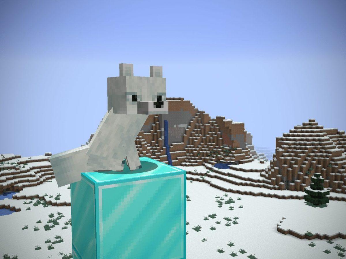 Depixel, pack de textures Minecraft : un renard sur un bloc de diamant