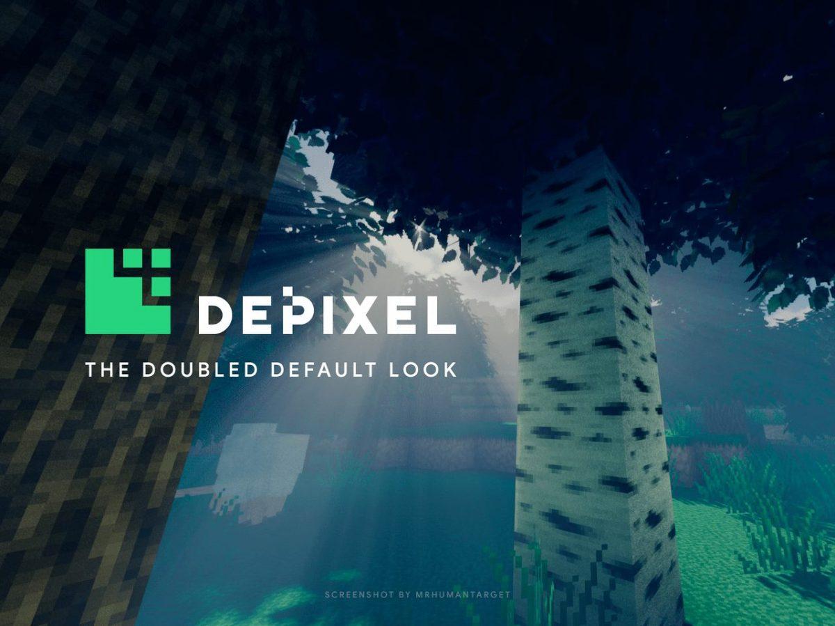 Depixel, pack de textures Minecraft : un arbre avec des shaders