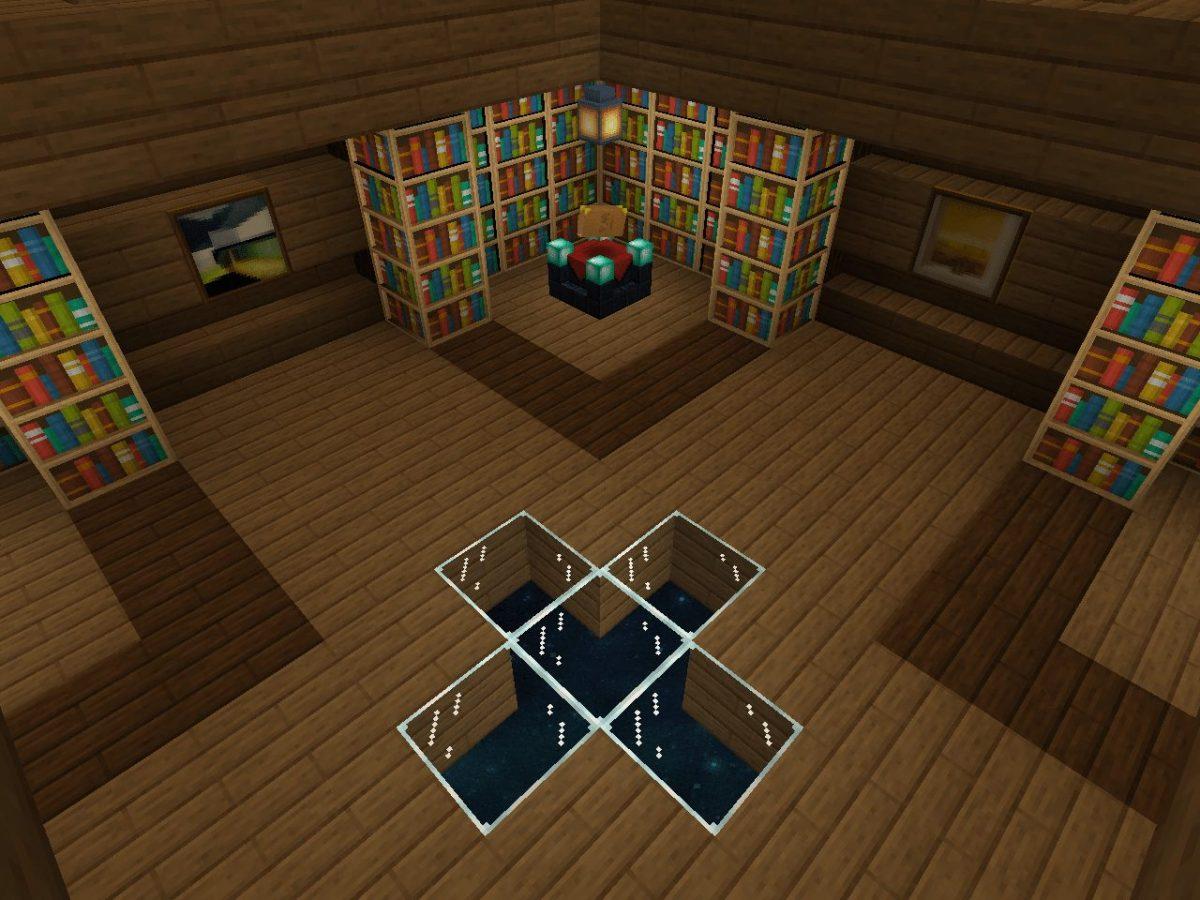 Depixel, pack de textures Minecraft : une maison avec une bibliothèque