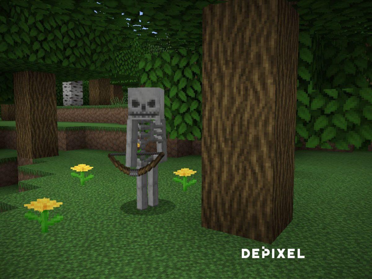 Depixel, pack de textures Minecraft : un squelette