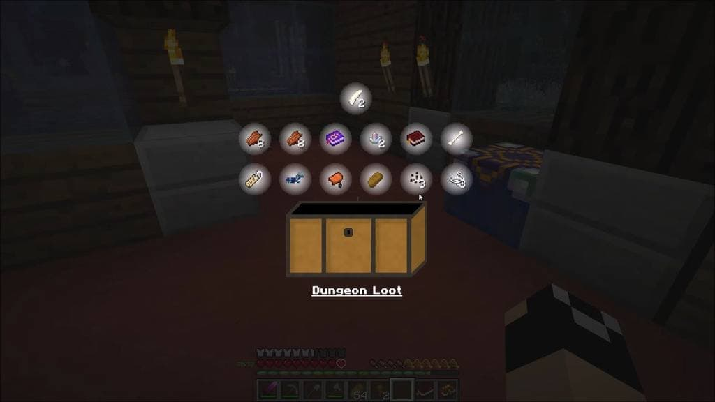 Modpack Roguelike Adventures and Dungeons : le loot d'un donjon