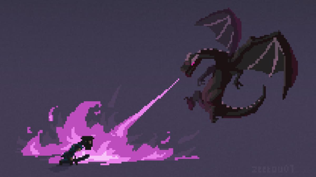 Pixel Art Minecraft : Combat contre l'Ender Dragon