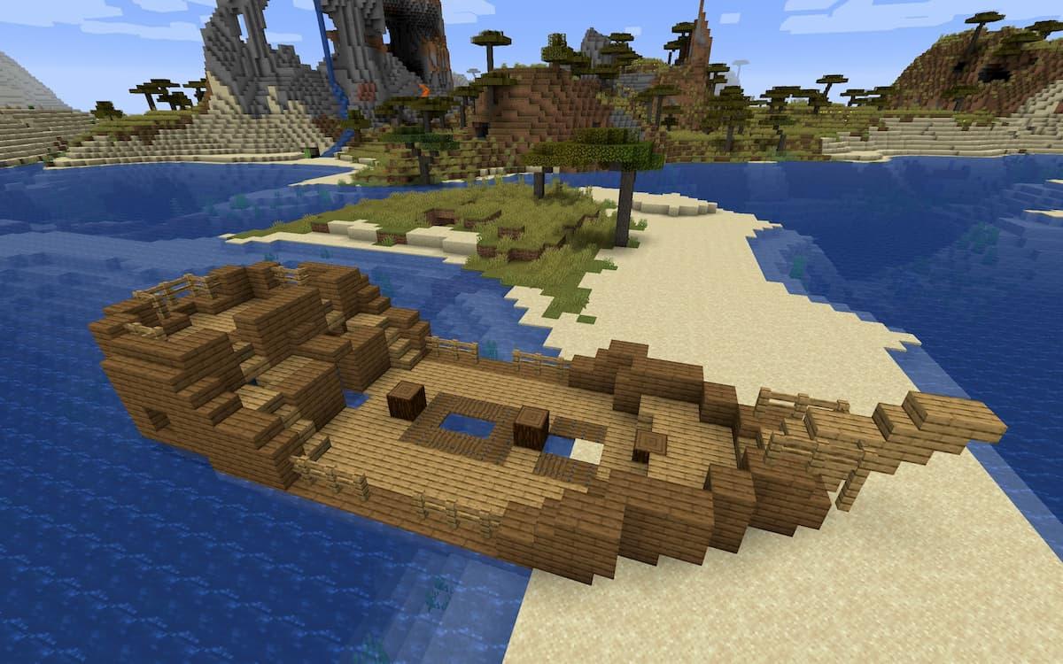 Seed Minecraft 1.15 épave sur banc de sable