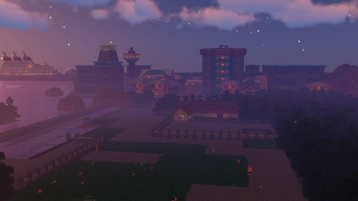 Une ville tirée de Pokémon recréée sur cette map pour Pixelmon