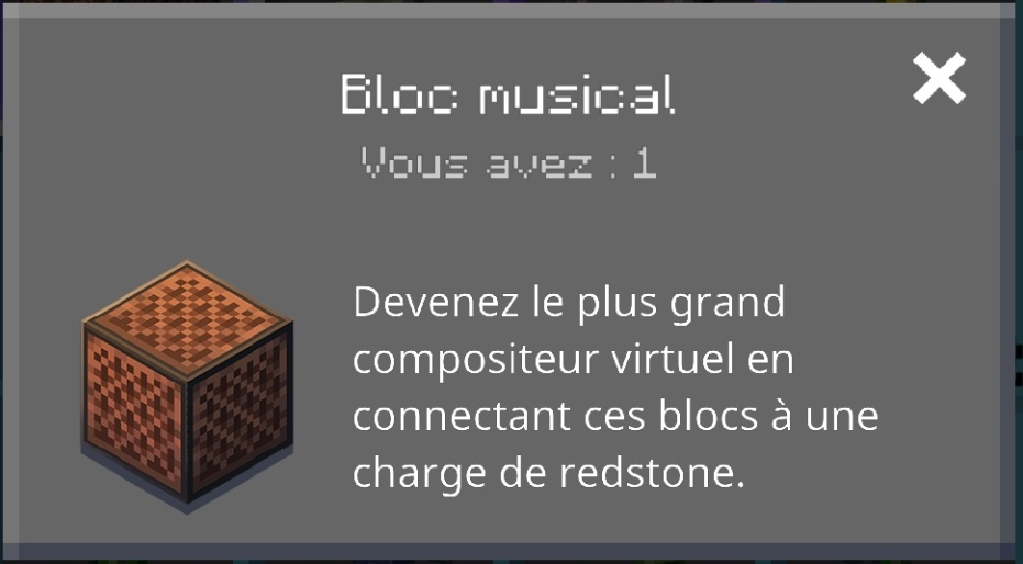 Minecraft earth patch Notes R12 : informations sur le bloc musical
