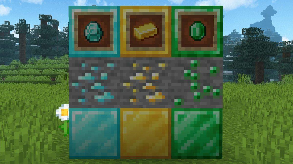 New Default + : Les blocs d'émeraude correspondent désormais à la texture des blocs de diamant et d'or.