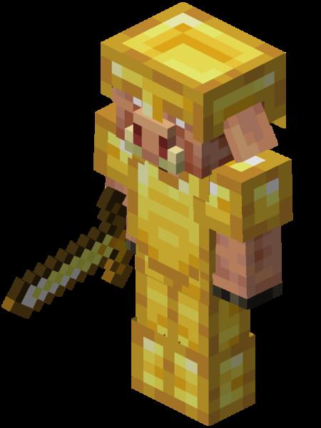un piglin avec une armure en or