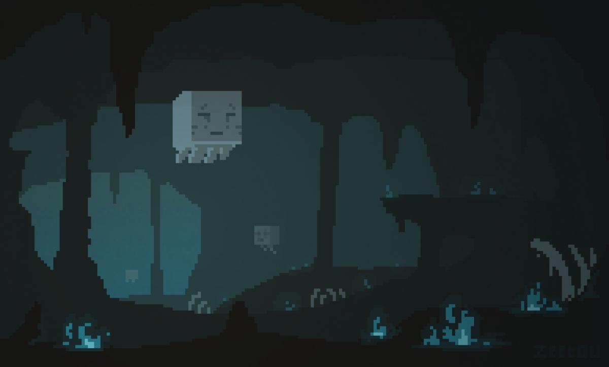 Pixel Art Minecraft : Ghast dans le biome Soul Sand Valley