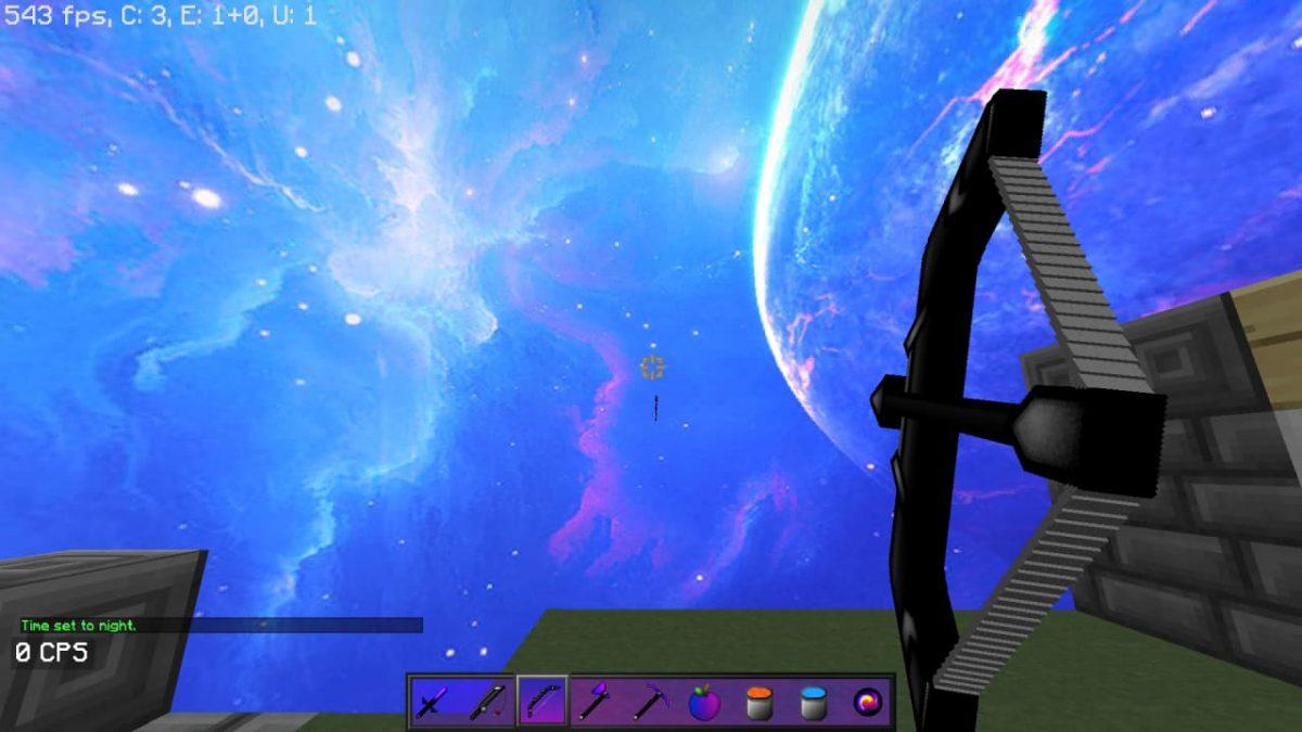 Synthwave Pack de Texture Pvp Minecraft : un arc et une vue sur le ciel