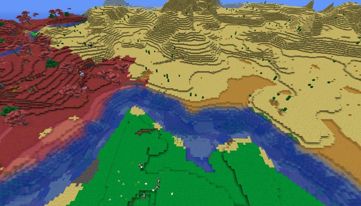 Terrapack3d Textures Minecraft X Terraria : croisement de biomes et une rivière