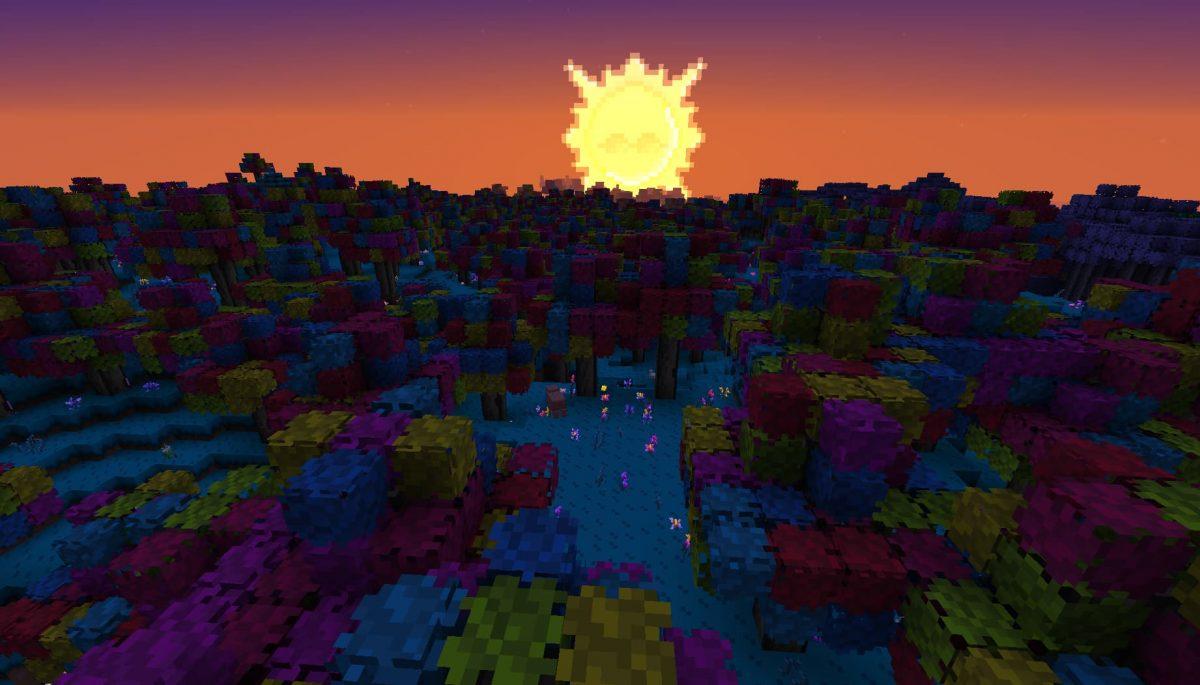 Terrapack3d Textures Minecraft X Terraria : le soleil au dessus de la forêt