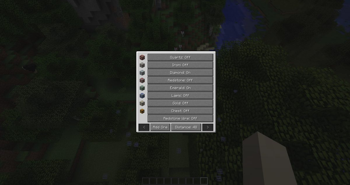 xray mod minecraft menu sélection