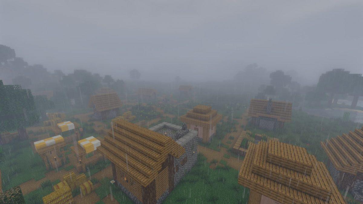 Chocapic's 13 shader : une village sous la pluie