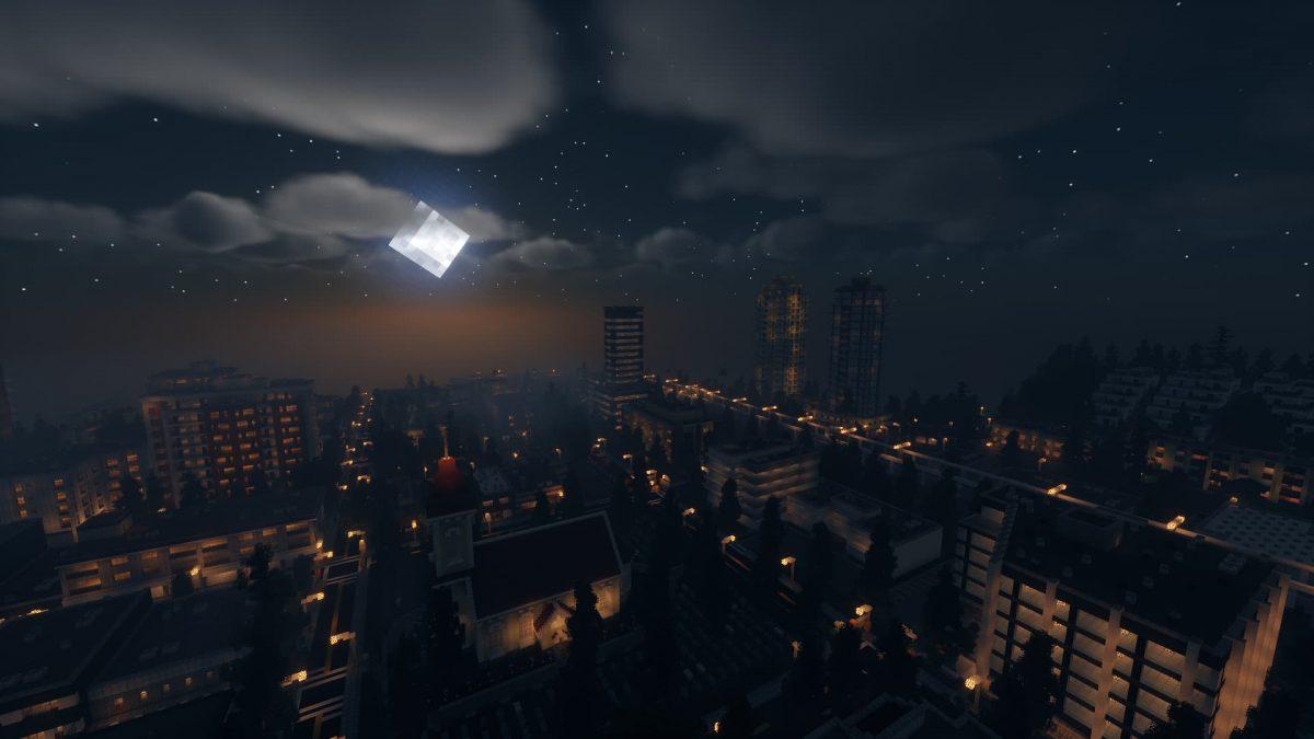 Chocapic's 13 shader : une grande ville de nuit avec la lune