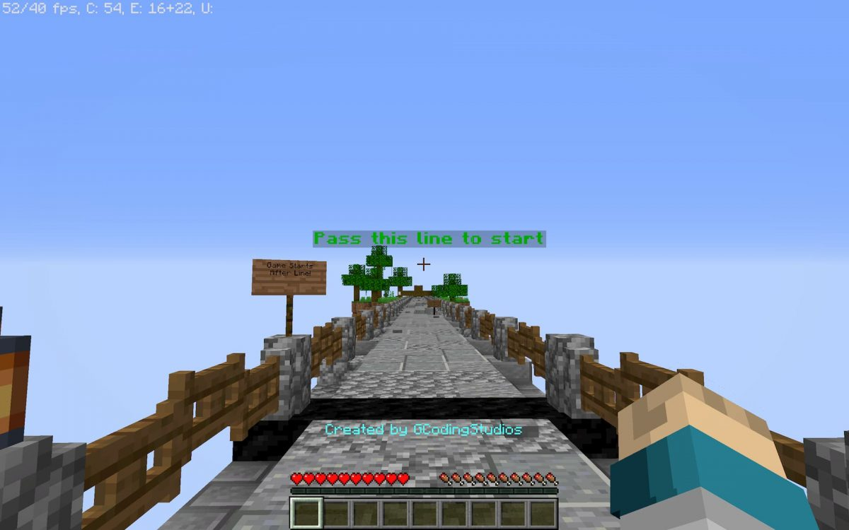 Creeper run map minecraft parkour : la ligne de départ