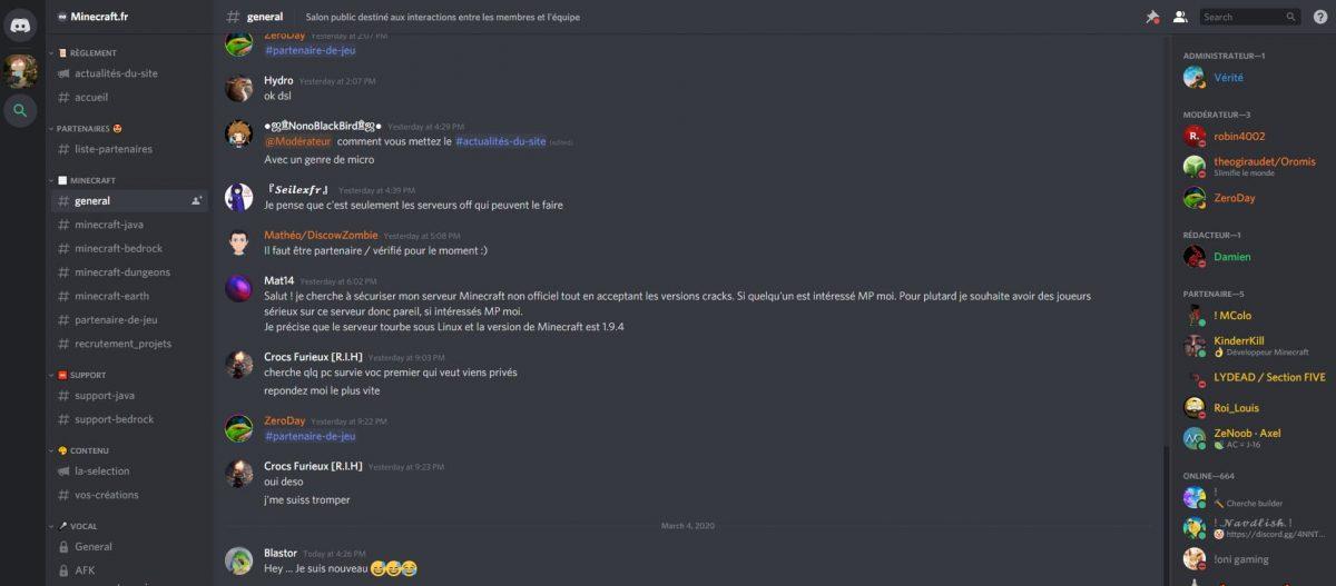 """Les commentaires sur la catégorie """"Général"""" du Discord Minecraft fr"""