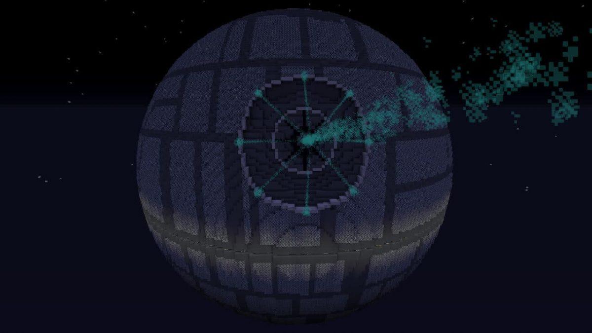 Map minecraft Etoile Noire : le laser activé vue de l'extérieur