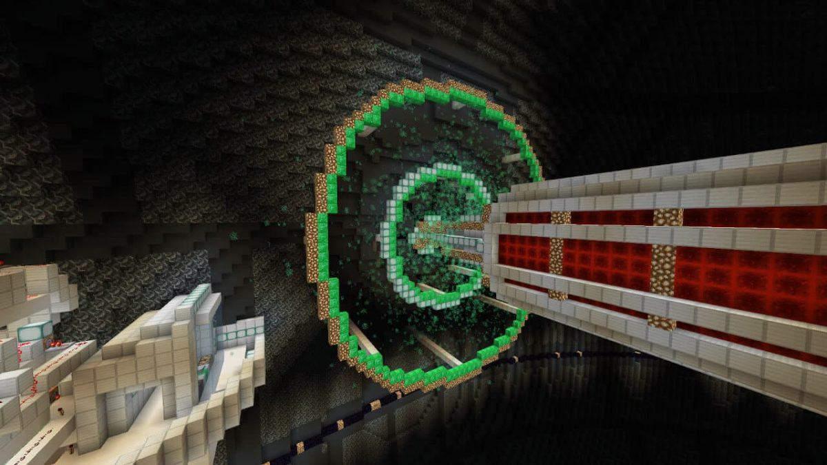 Map minecraft Etoile Noire : la laser qui est activé vue de l'intérieur