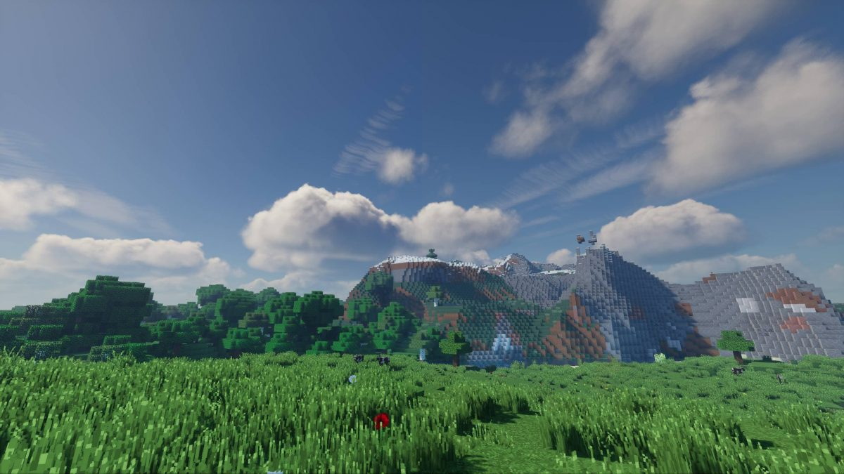 kappa shader : une plaine avec une montagne en arrière plan