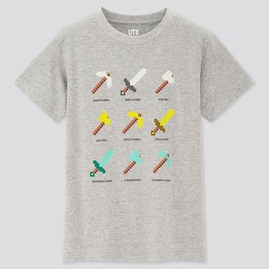 Tshirt Minecraft Uniqlo : pioche, épée et hache