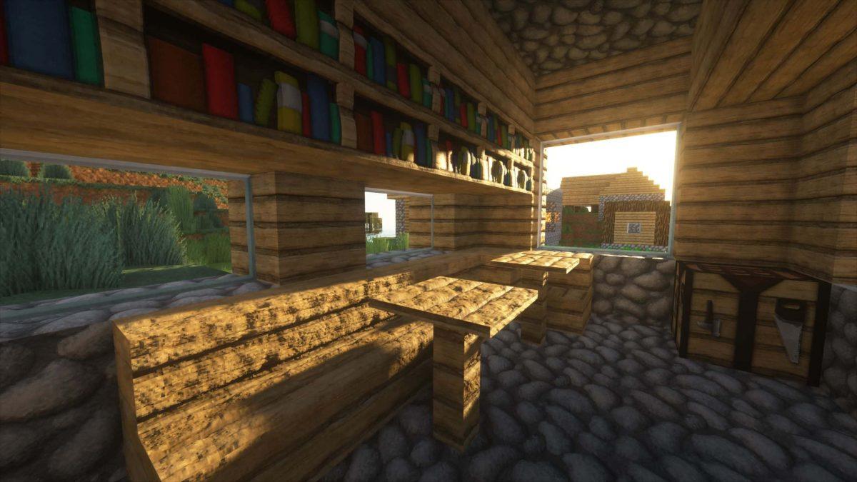Seus Shader : à l'intérieur d'une maison dans un village