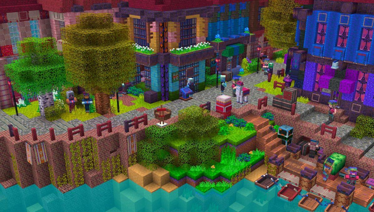Tales of Jobutara Kingdoms Pack de Texture Minecraft : un village avec de nombreux villageois