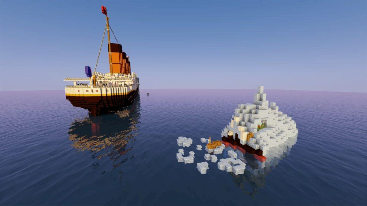 Titanic Survival 2 : d'ici on voit l'iceberg sur lequel vous allez tenter de survivre et la paquebot