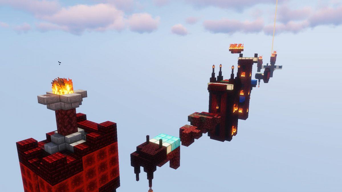 TNT Race : un niveau avec des blocs du nether