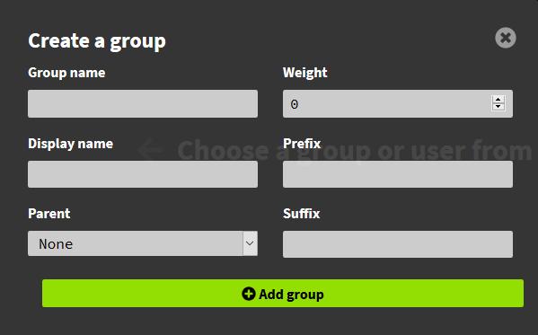 LuckPerms - Menu de création de groupe