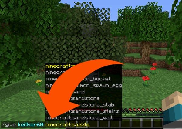 Comment faire une selle dans Minecraft en trichant