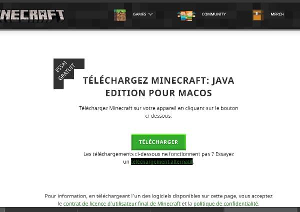 Installer Minecraft Mac : Télécharger sur minecraft.net
