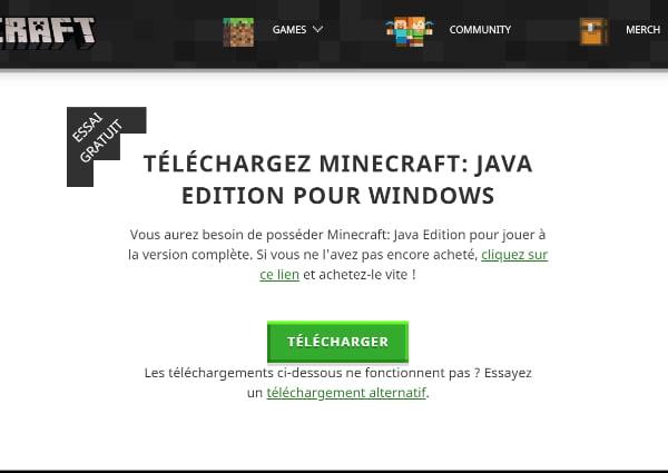 Installer Minecraft Windows : Télécharger sur minecraft.net