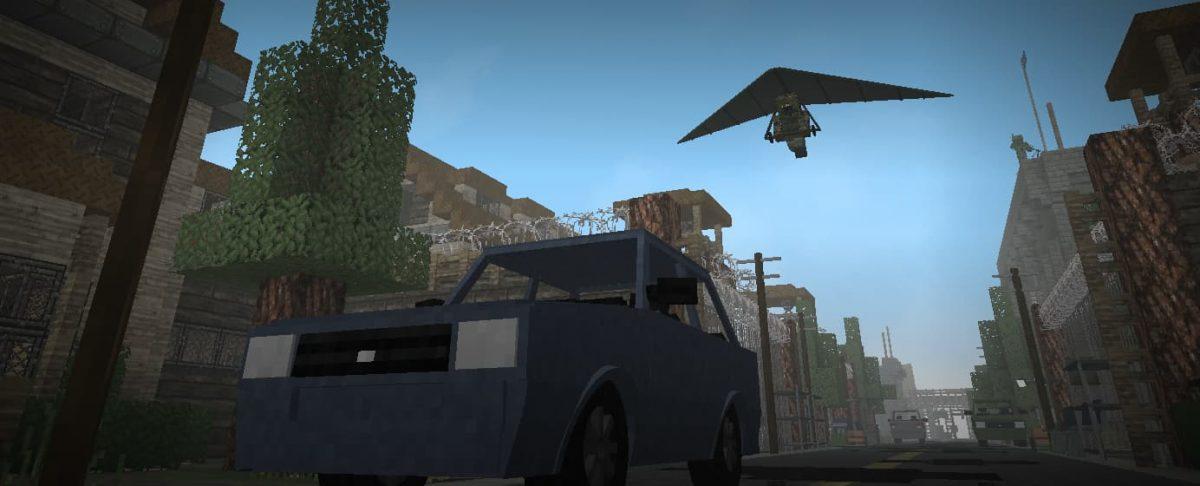 decimation mod minecraft : uen voiture et un deltaplane
