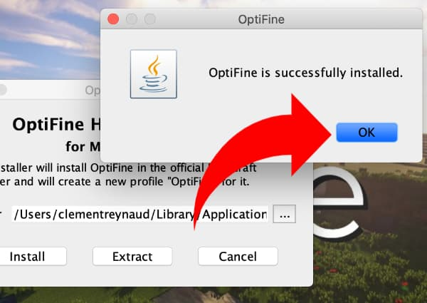 Installer Optifine : optifine s'est installé tout seul