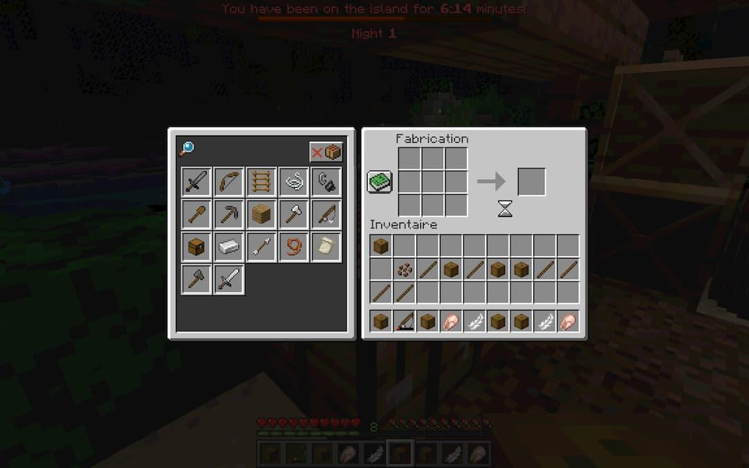 Vous ne pourrez pas créer tous les objets de Minecraft, seulement ceux nécessaires à la carte.