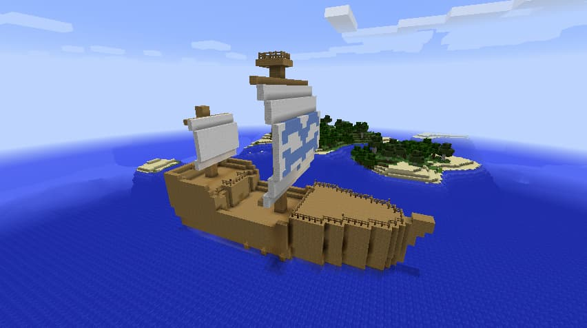 Mine Mine no Mi, mod Minecraft One Piece : un bateau de la marine